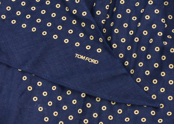Tom Ford Mens Navy Polka Dot Print Angular Edges Cotton Scarf - Tribeca Fashion House