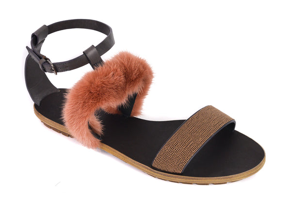 Brunello Cucinelli Women Pink Mink Fur Monili Flat Sandals - Tribeca Fashion House