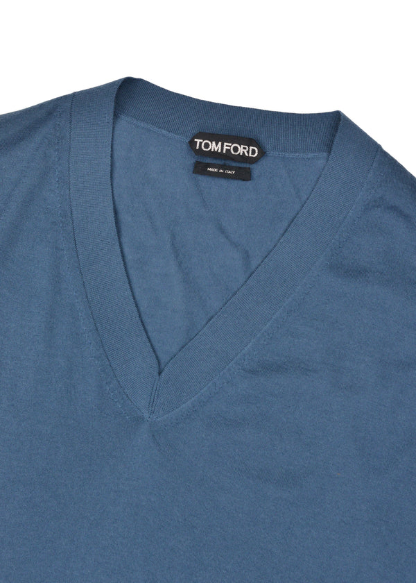 Tom Ford Mens Cashmere Blue V Neck Long Sleeve Sweater - Tribeca Fashion House