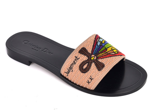 Dior Womens Black Dior Tarot Judgement Embroidered Clog Slippers - Tribeca Fashion House