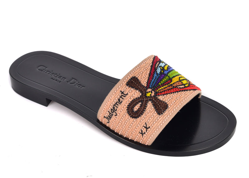 Dior Womens Black Dior Tarot Judgement Embroidered Clog Slippers - ACCESSX