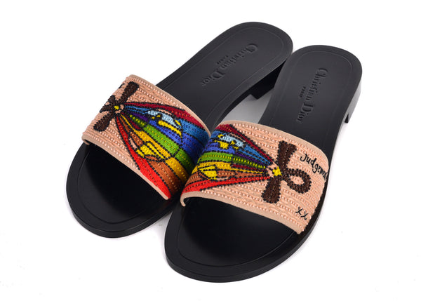 Dior Womens Black Dior Tarot Judgement Embroidered Clog Slippers
