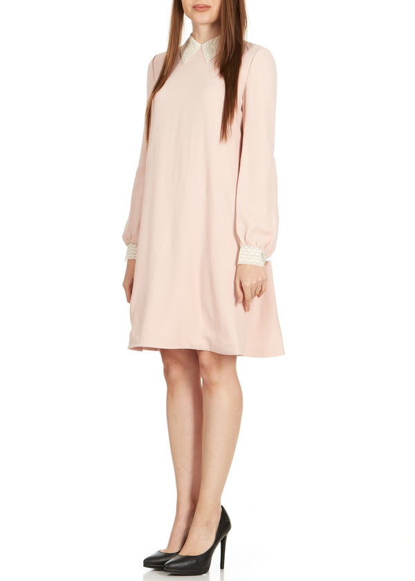 Dior Women's Pink Lace Collar Long Sleeve Dress