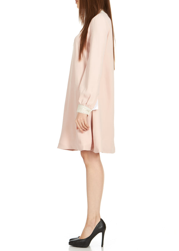 Dior Womens Pink Lace Collar Long Sleeve Dress