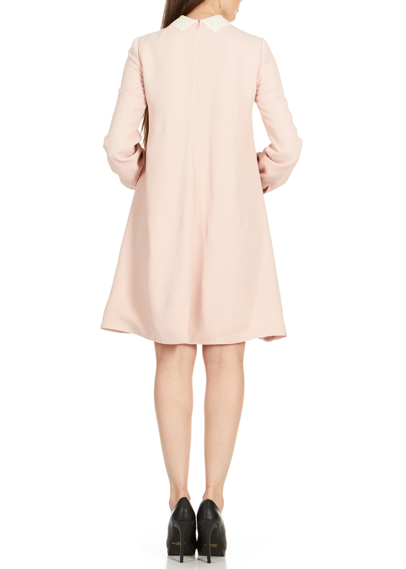 Dior Women's Pink Lace Collar Long Sleeve Dress - Tribeca Fashion House