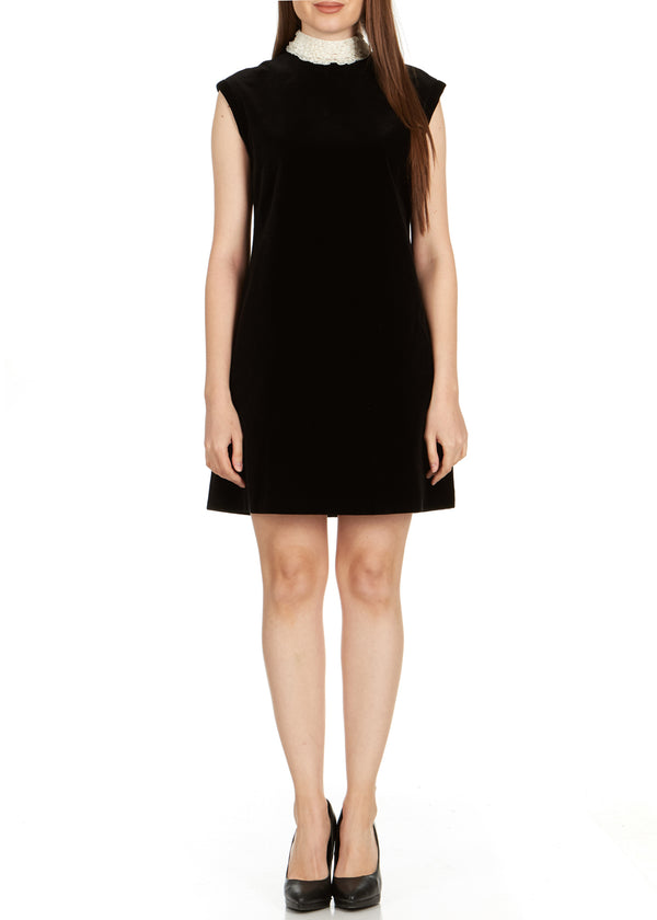 Dior Women's Black Lace Collar Sleeveless Dress - Tribeca Fashion House