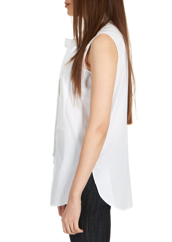 Dior Womens White Cotton Neck Tied Front Sleeveless Blouse