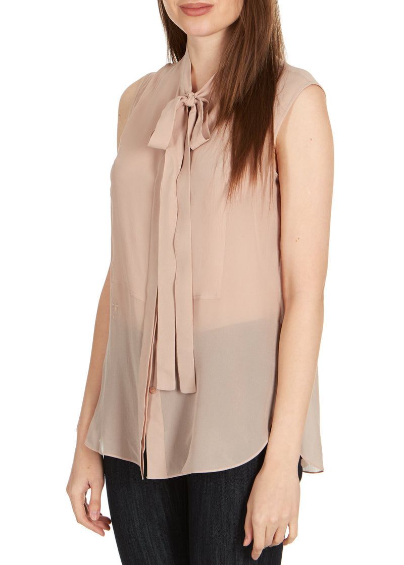 Dior Women's Rose Silk Neck Tied Front Sleeveless Blouse - Tribeca Fashion House