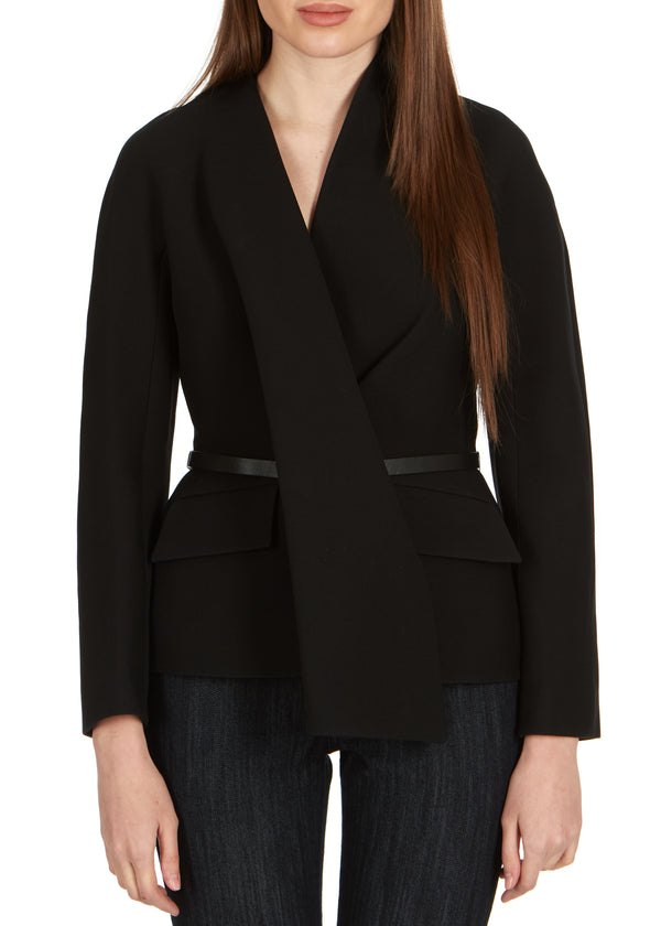 Dior Womens Black Wool Blend Skinny Belt Blazer - ACCESSX