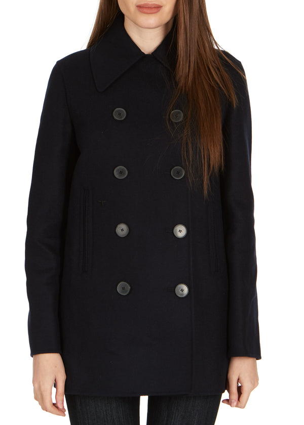 Dior Womens Navy Wool Blend Double Breasted Peacoat - ACCESSX