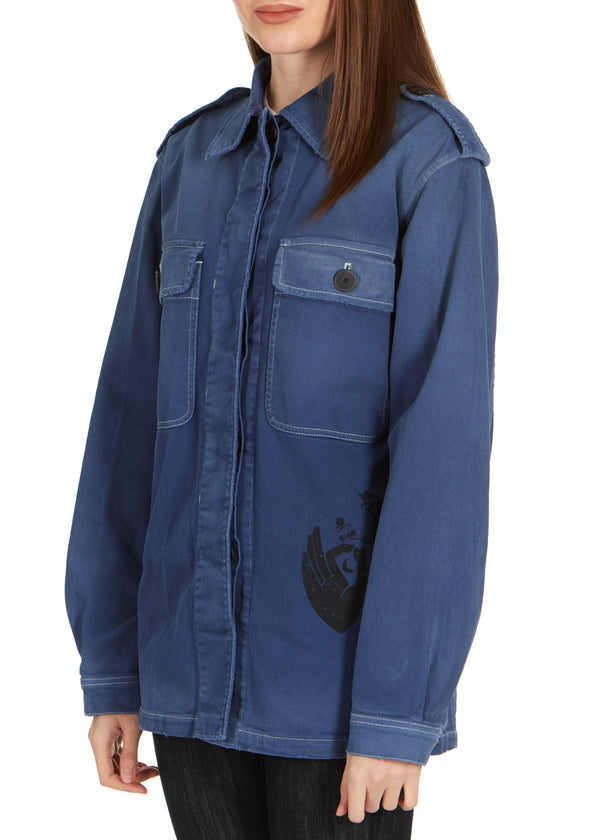 Dior Women's Blue Denim Moon Printed Long Sleeve Jacket - Tribeca Fashion House