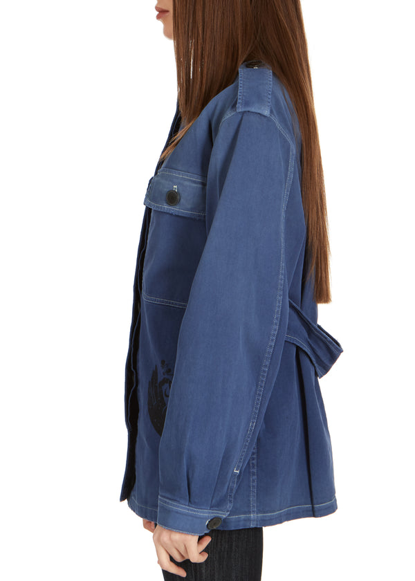 Dior Womens Blue Denim Moon Printed Long Sleeve Jacket - ACCESSX