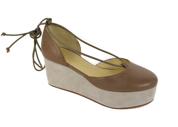 Brunello Cucinelli Womens Brown Leather Platform Wedges - Tribeca Fashion House