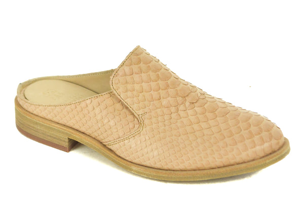 Brunello Cucinelli Nude Snake Embossed Slip On Mules - Tribeca Fashion House