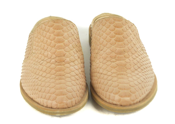 Brunello Cucinelli Womens Nude Snake Embossed Slip On Mules - Tribeca Fashion House