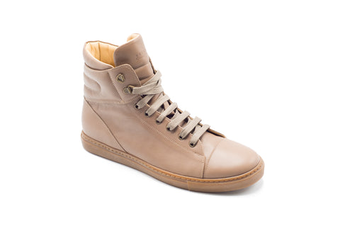 Brunello Cucinelli Brown Leather Lace High Top Sneaker - Tribeca Fashion House
