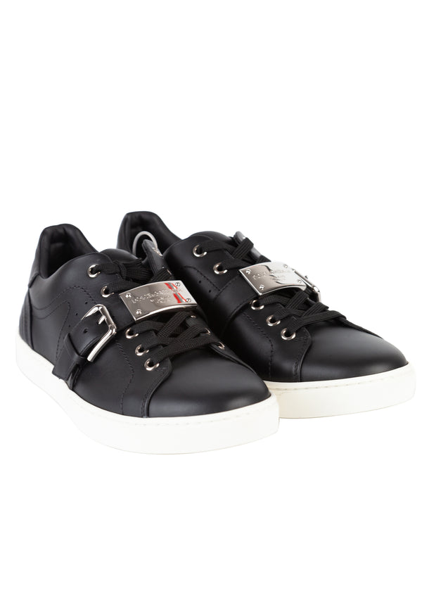 Dolce & Gabbana Mens Black Leather London Low Top Sneakers - Tribeca Fashion House