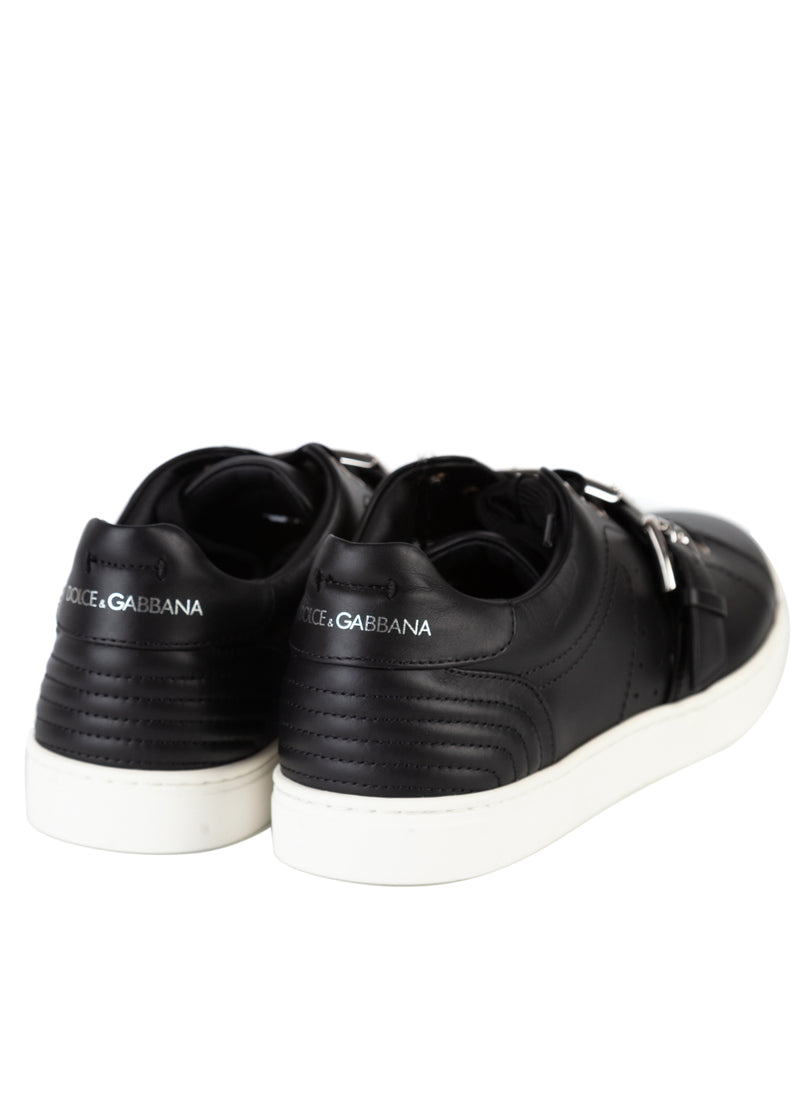 Dolce & Gabbana Mens Black Leather London Low Top Sneakers - ACCESSX