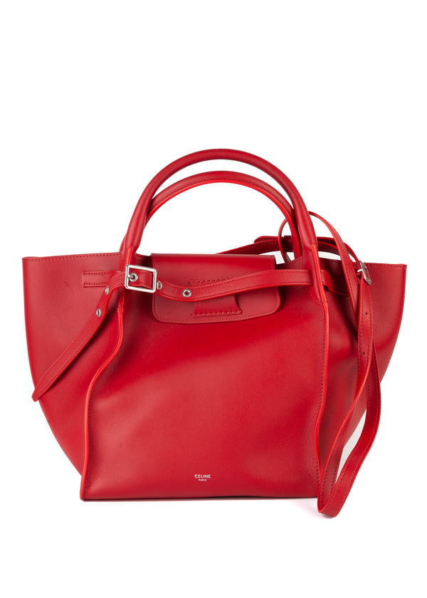 Celine Womens Red Smooth Small Big Bag - Tribeca Fashion House