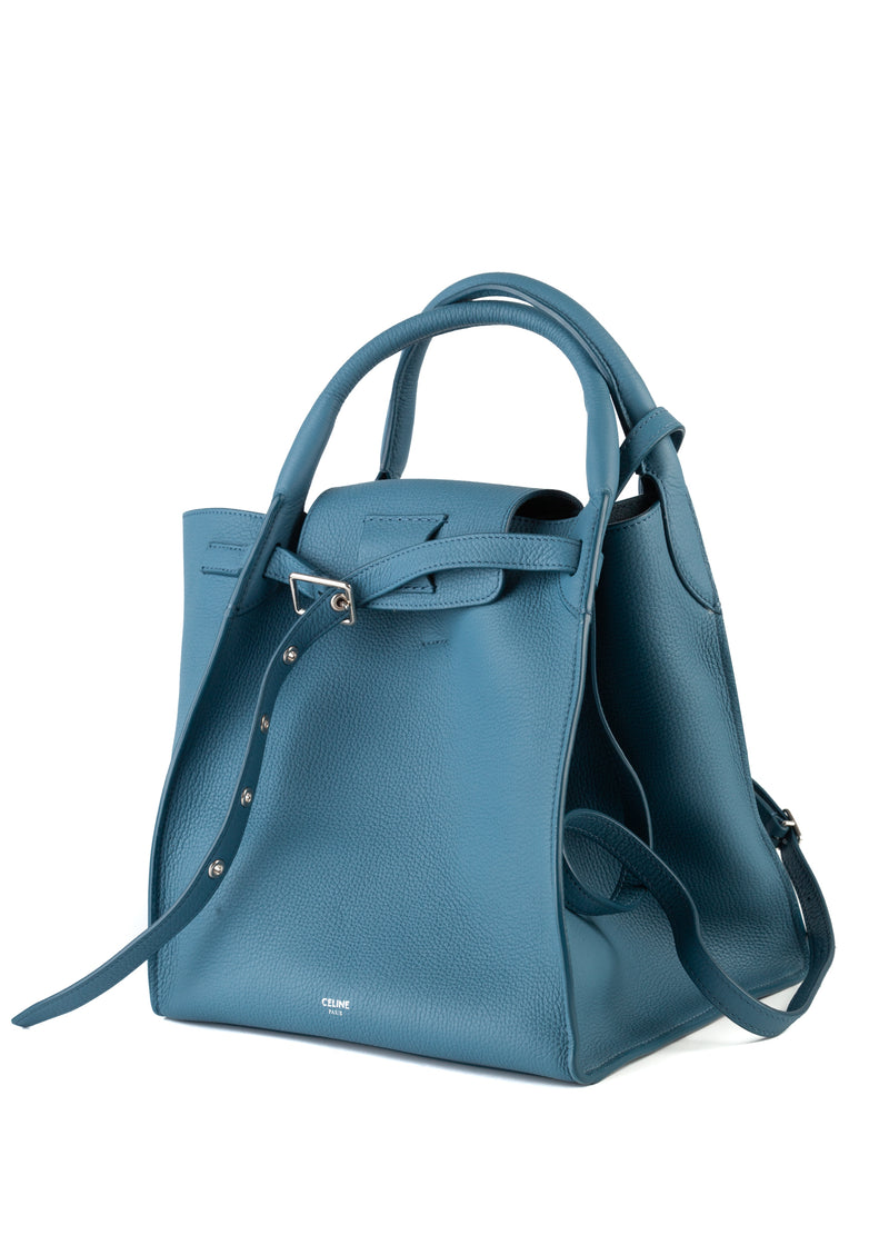 Celine Womens Blue Grained Calfskin Small Big Bag - ACCESSX