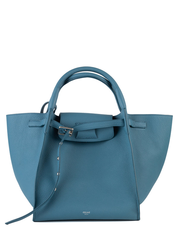 Celine Womens Blue Grained Calfskin Small Big Bag - Tribeca Fashion House