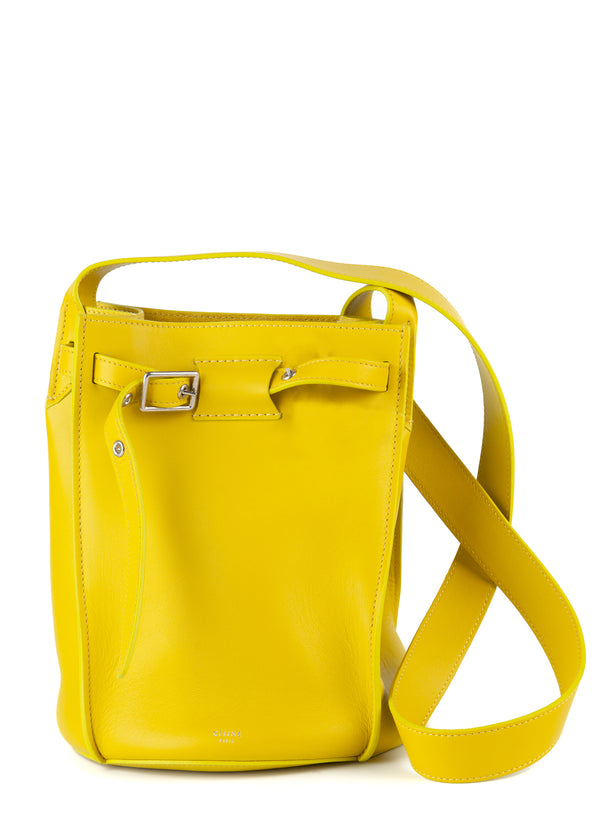 Celine Womens Neon Yellow Smooth Calfskin Long Strap Bucket Bag - Tribeca Fashion House