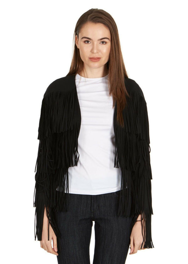Tom Ford Womens Black Fringe Long Sleeve Jacket Blazer - Tribeca Fashion House