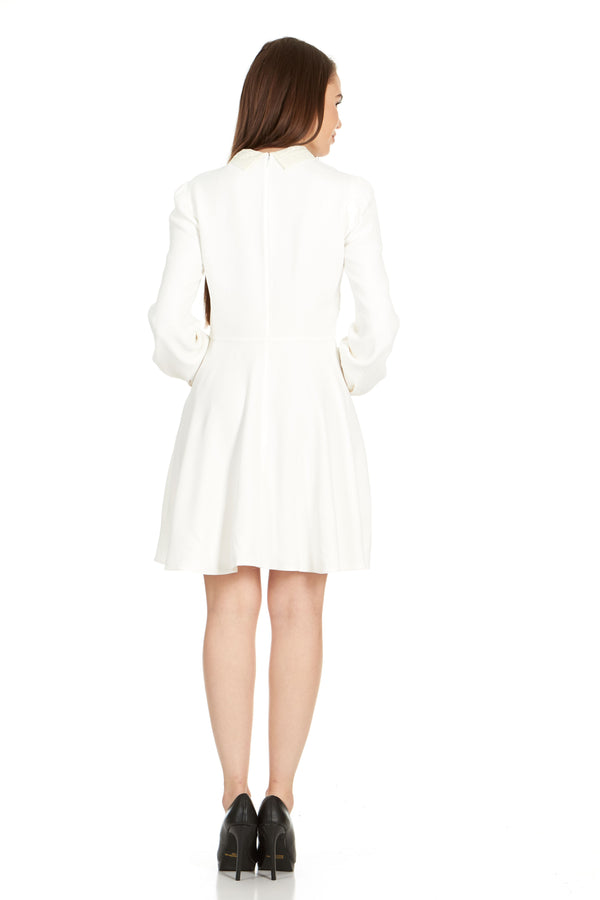 Dior Womens White Lace Collar Long Sleeve Dress