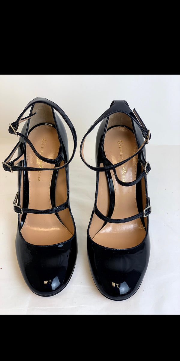 Gianvito Rossi Black Leather Strap on Heel Size 37 - ACCESSX