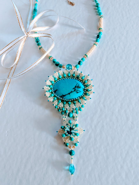 "Handmade Necklace with pendant  "" Blue Sunflower "" by Oksana"