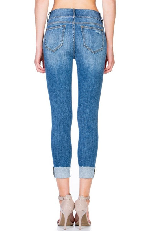 Medium Wash Cuffed Crop Jeans +