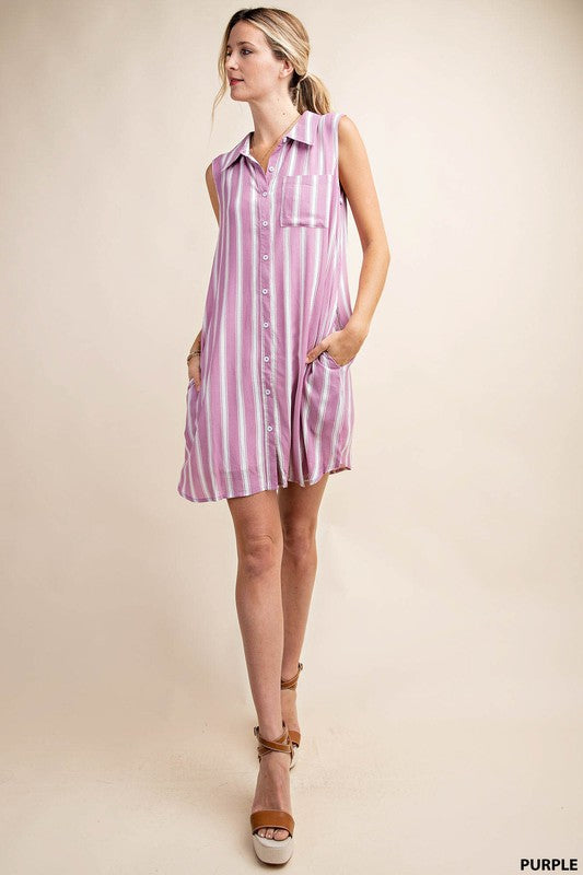 Purple Stripe Button Up Dress