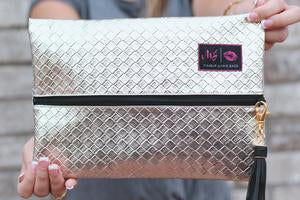 White Gold Makeup Junkie Bag
