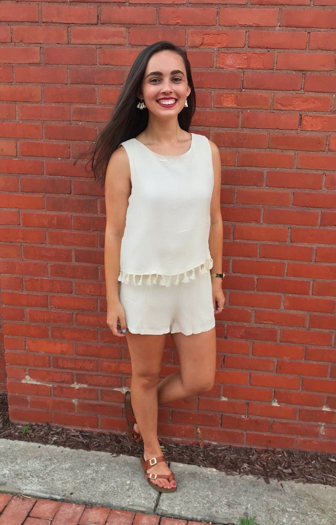 Bottoms - Ivory Tassel Romper