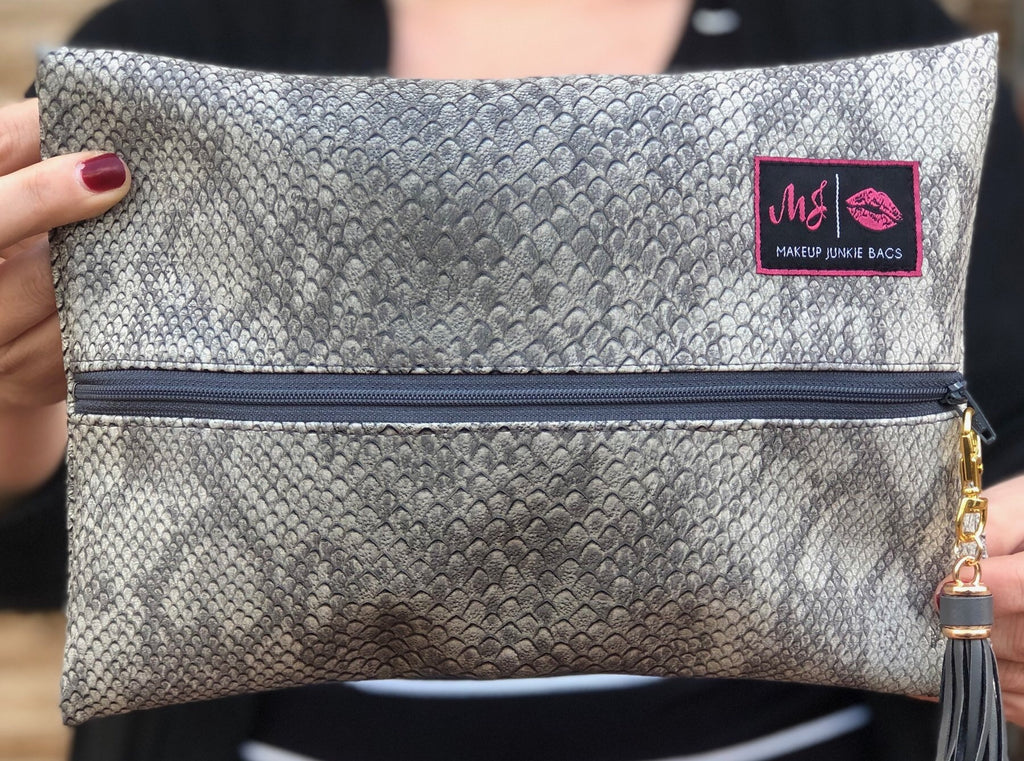 Grey Cobra Makeup Junkie Bag