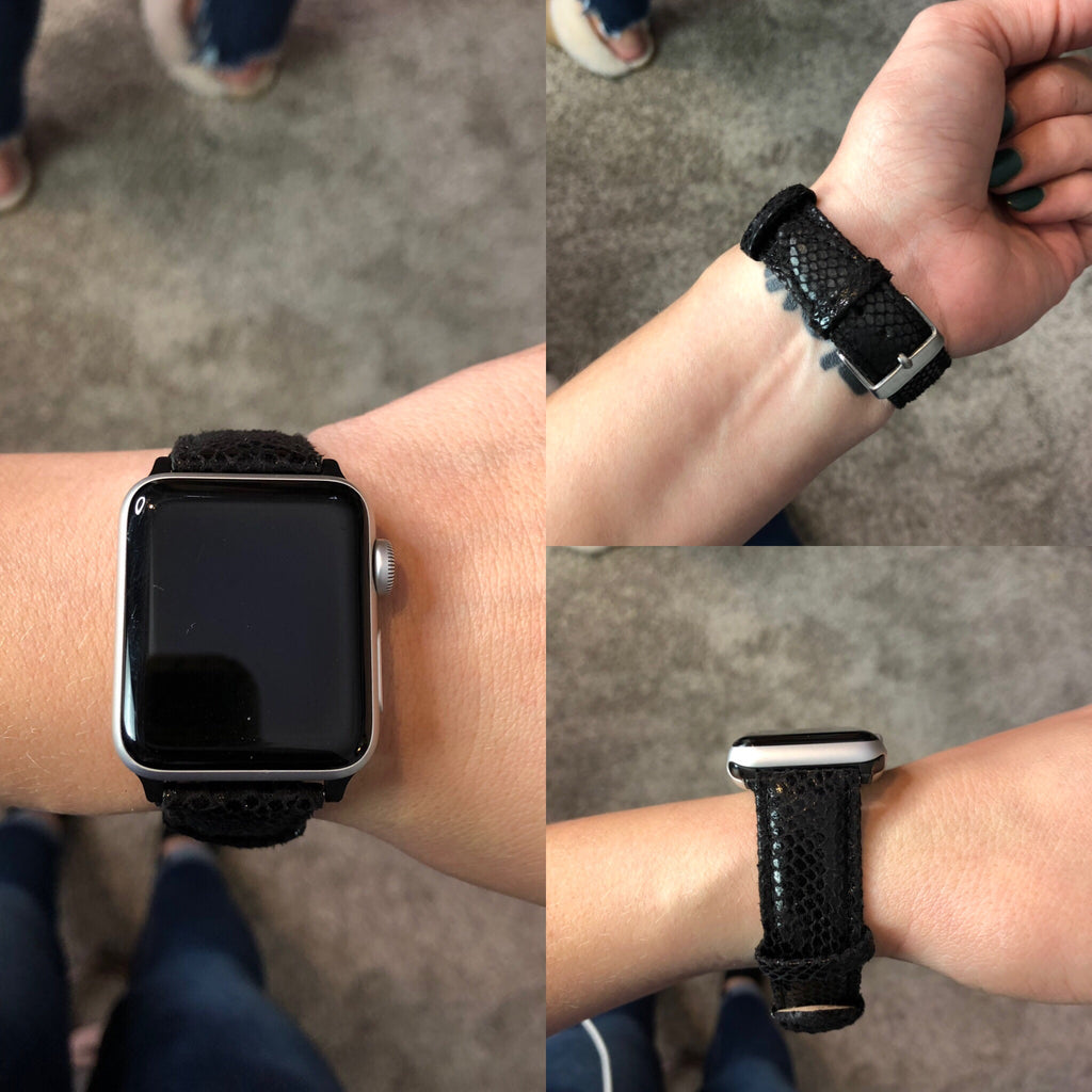 BF Black Leather Apple Watch Band