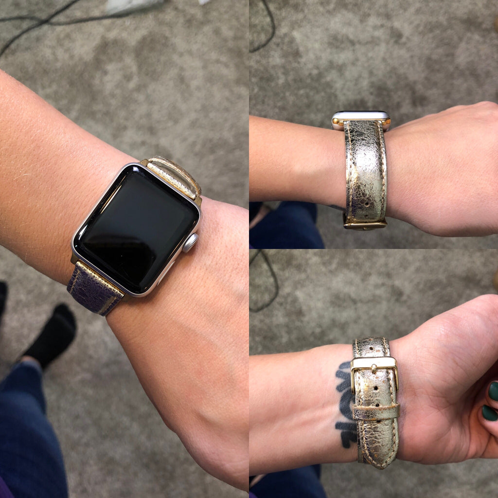 BF Gold Leather Apple Watch Band