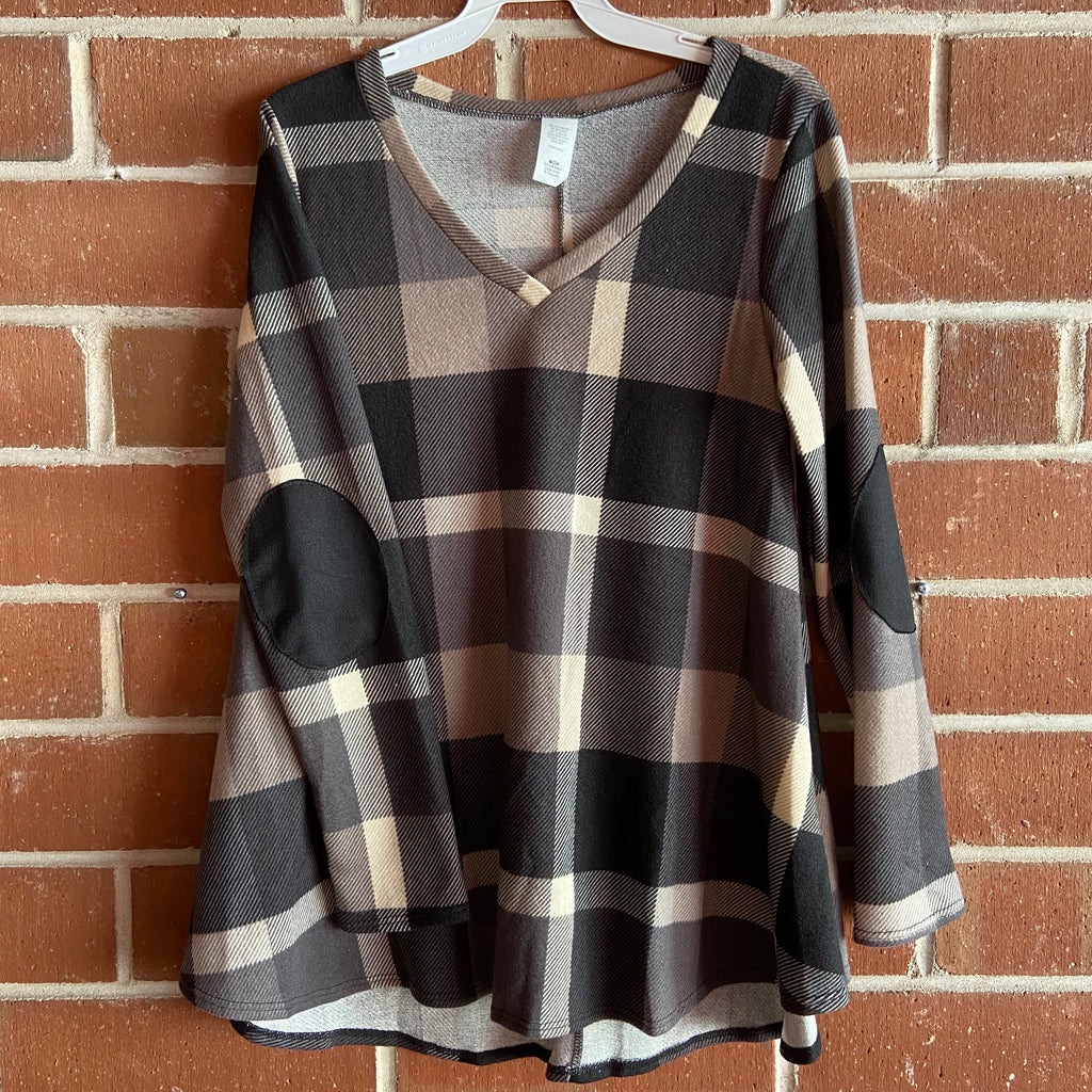 Charcoal Plaid with Elbow Patches