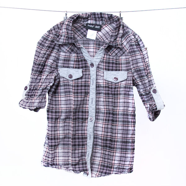 Paper Doll Plaid Long Sleeve Button Front