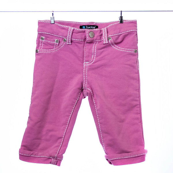Tractor Pink Stretch Pants in Jeans Pattern