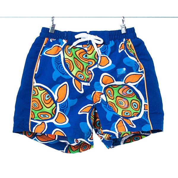 Children's Place Boys Blue Swim Trunks with Turtle Pattern