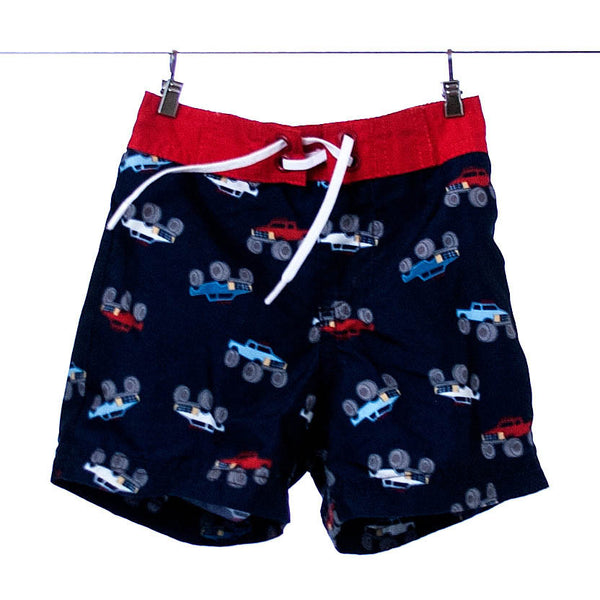 Gymboree Boys Navy Swim Trunks with Truck Pattern