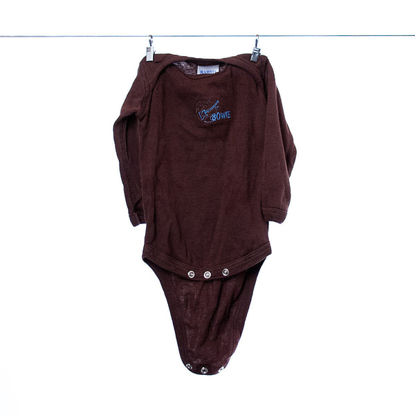 "Rabbit Skins Custom-Ordered Brown ""Bowie"" Long-Sleeved Onesie, Size NB (Newborn), 0-3 Months"