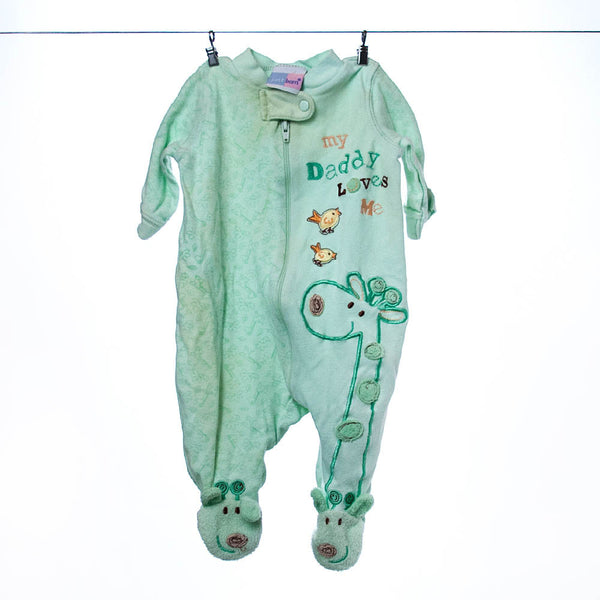 Just Born Footed Onesie, Size 0-3 Months.