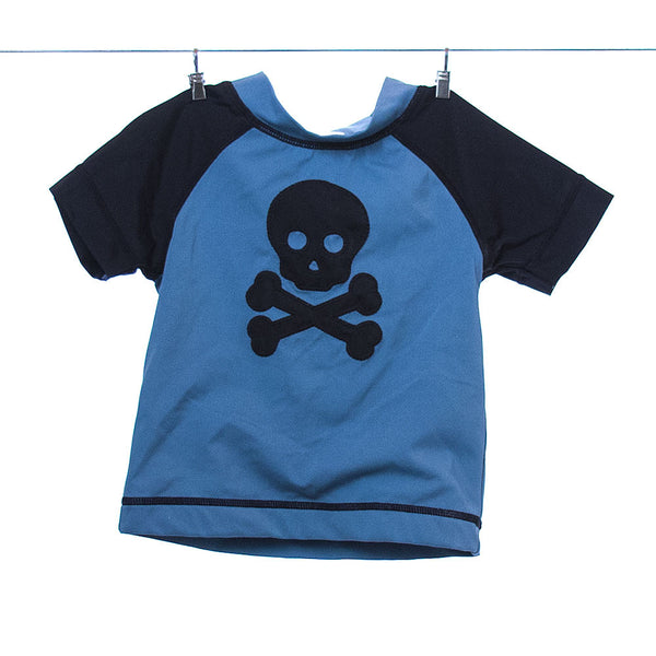 Gymboree Boys Light Blue and Black Skull and Crossbones Swim Shirt, Size 12-18 months