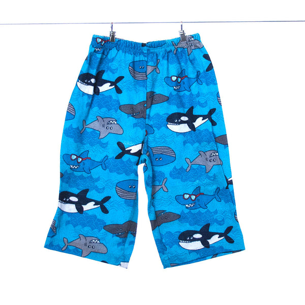 Just One Year Blue Pants with Whales and Sharks, 12 Months