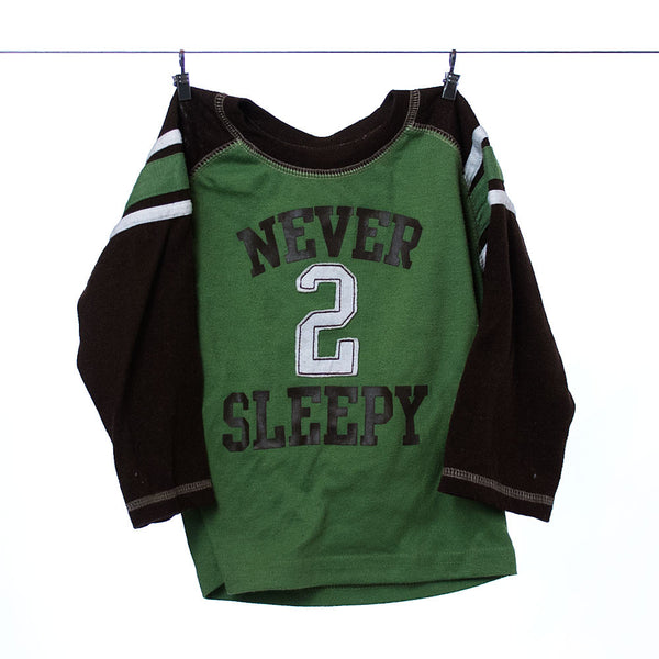 "Carter's Boys Green and Brown ""Never Sleepy"" Long Sleeve Tee, Size 18 months"