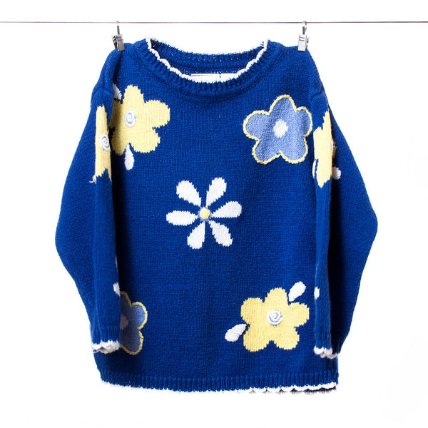 Baby N Girls Navy Floral Sweater, Size 3