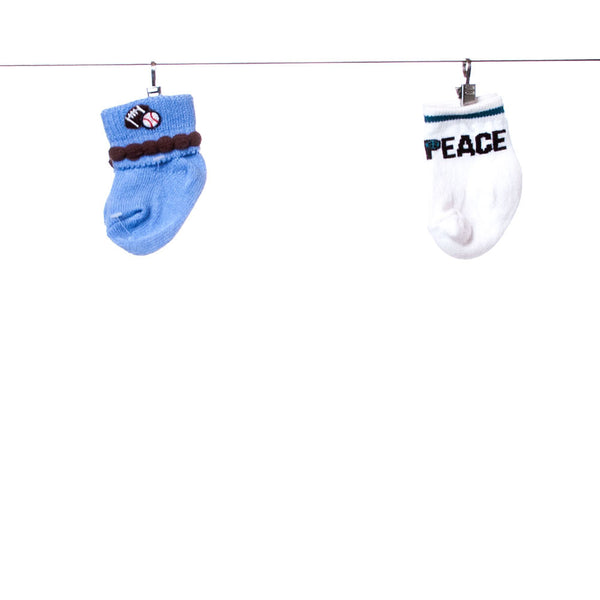 "Boys 2-piece Set of ""Peace"" and Sport Socks, Size Newborn to 6 months"