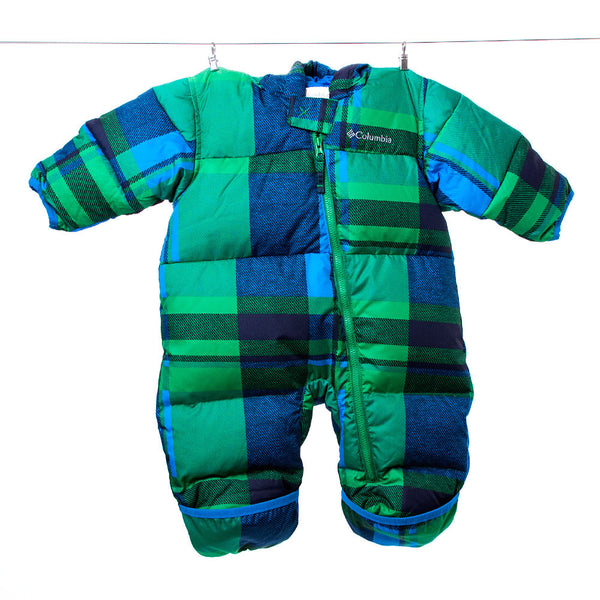 Columbia Green and Blue Plaid Bunting Snow Suit, 6 Months